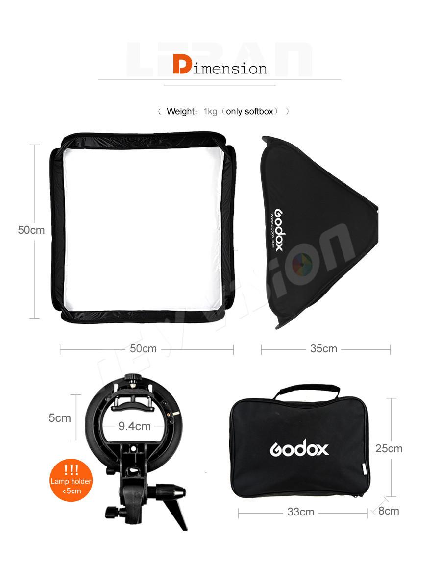 Софтбокс 50 см × 50 см Godox S type с головкой для вспышки Удобная, версия 2020