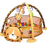 Развивающий коврик 3 в 1 лев activity gym and ball pit  с шариками, фото 5