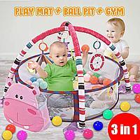 Детский развивающий коврик 3 в 1 activity gym and ball pit c шариками, фото 1