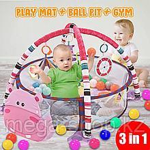 Детский развивающий коврик 3 в 1 activity gym and ball pit c шариками