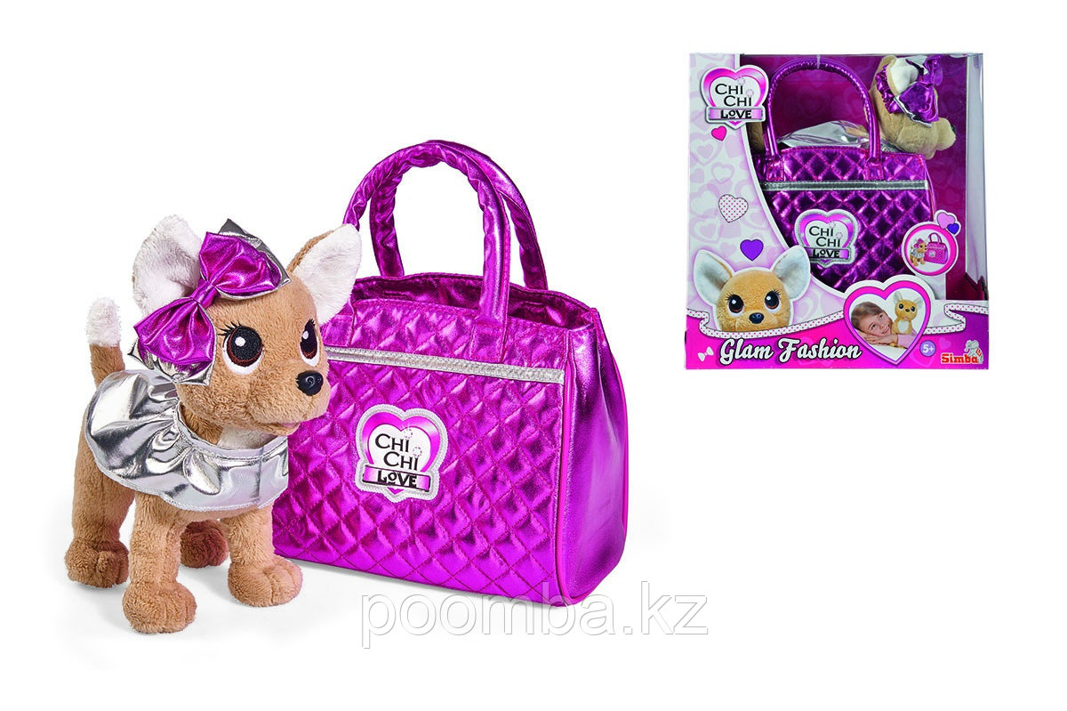 Плюшевая собачка 20 см Chi-Chi love Гламур с розовой сумочкой и бантом Simba