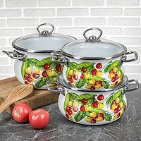 """Набор эмалированной посуды из 3-х кастрюль,(1,5 л, 2,5 л, 3,5 л) i1000 """"Вкусняшка"""" I1000вкус"""