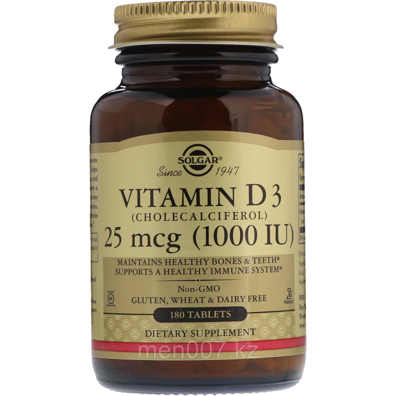 БАД Витамин D3, 1000 IU Солгар (180 таблеток)