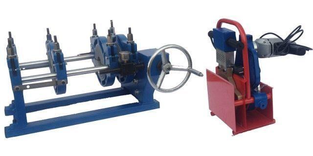 Механический редукторный сварочный аппарат c манометром  для стыковой пайки ПВХ труб от 90 до 250мм
