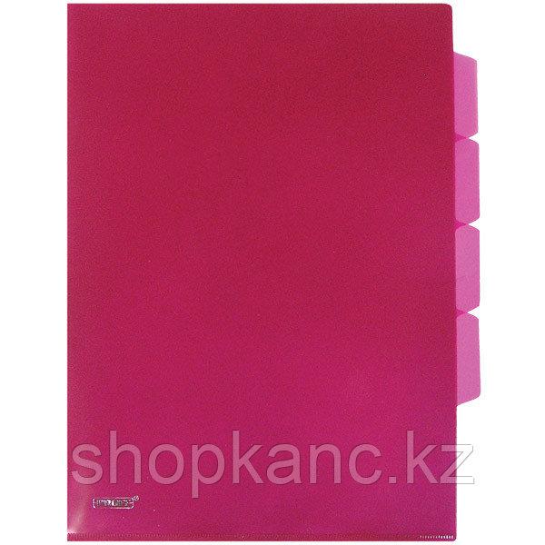 Папка-уголок A4 с тремя отделениями прозрачная красная 0.18 мм.