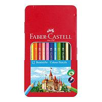 Карандаши цветные, шестигранные, ЗАМОК, 12 цветов, в металлической коробке.