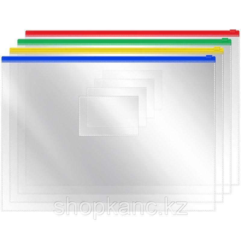 Папка-конверт на молнии OfficeSpace, А4, 120мкм, прозрачная