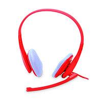Наушники с микрофоном, цвет красный