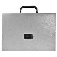 Портфель, 12 разделителей, А4, 0.7мм, BASIC, на замке, с ручкой, серый арт.255077-11