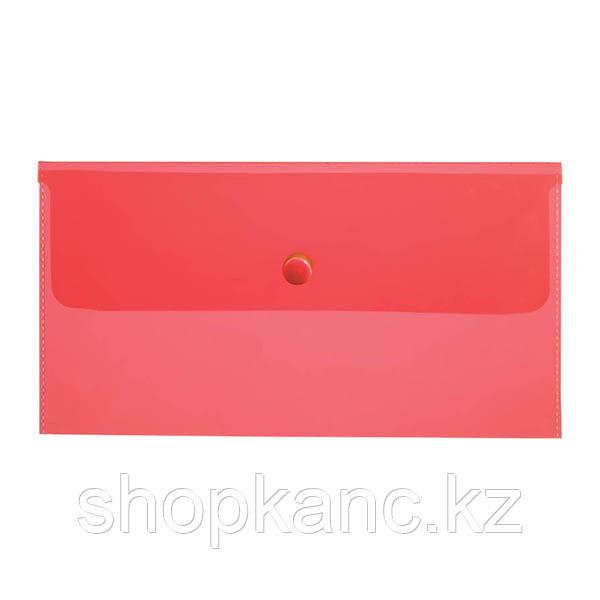 Папка-конверт на кнопке C6, 180мкм, красная