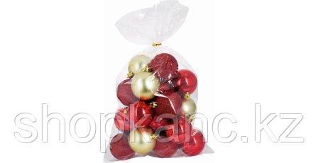 Набор  пластиковых елочных шаров, 20 штук, цвет красный, золотой