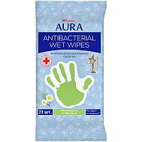 Салфетки влажные AURA, антибактериальные, 72 шт/уп.