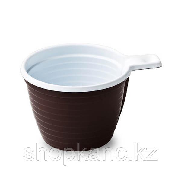 Чашка кофейная 180 мл коричнево-белая, 50 шт/упак.