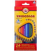 Карандаши, TrioColor, 24 цвета, трёхгранный корпус.