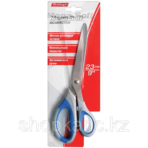 Ножницы Mega Soft, 23 см, эргономичные ручки, мягкие вставки, трехсторонняя.заточка,