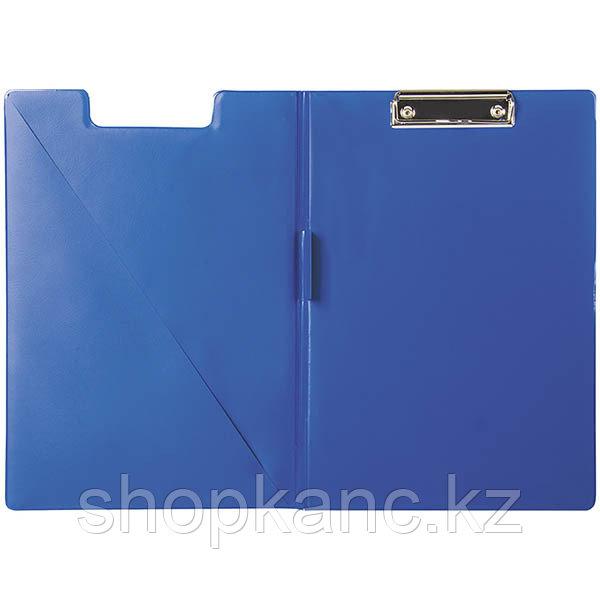 Папка-планшет с зажимом, ПВХ, синий.