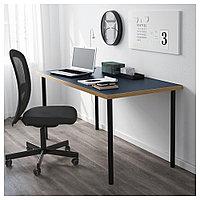 ЛИННМОН / АДИЛЬС Стол, синий, черный, синий/черный 150x75 см