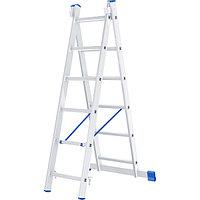 Лестница, 2 х 6 ступеней, алюминиевая, двухсекционная СИБРТЕХ Pоссия