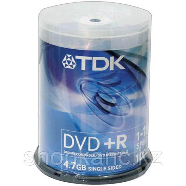 Диск TDK, DVD+R, 4.7 Gb, 16х, Cake Box, 100 шт/упак.