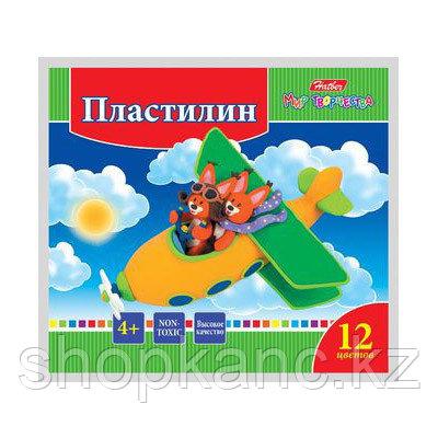 """Пластилин """"Hatber"""", 12 цветов, 240гр, со стеком, серия """"Ушастики"""""""