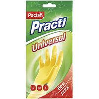 Перчатки резиновые PACLAN, PRACTI, Universal, L, желтые.