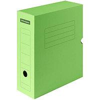 Короб архивный с клапаном, микрогофрокартон, 100 мм, зеленый.