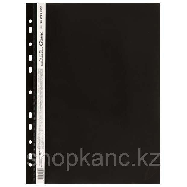 Скоросшиватель пласт, А4, 0.12/0.14мм, CLASSIC, универс перф, фактура гладь, черный.