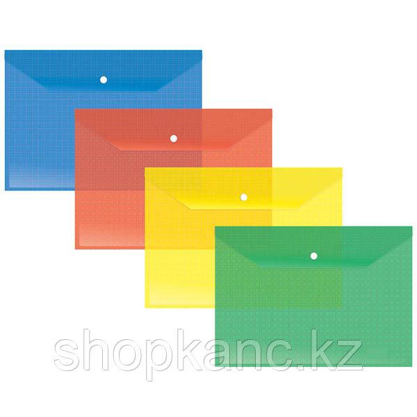 Папка-конверт на кнопке А4, 140мкм, прозрачная, ассорти