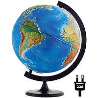 Глобус физико-политический рельефный 32см, с подсветкой на круглой подставке