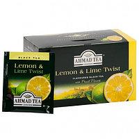Чай Ahmad Tea c ароматом лимона и лайма, пакетики с ярлычками, 20*2г