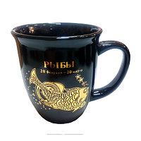 Кружка керамическая 300 мл, цвет черный, знак зодиака Рыбы