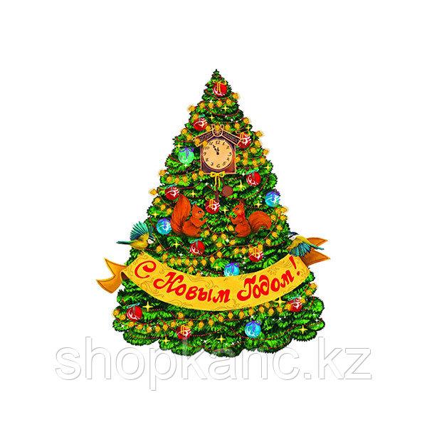 """Новогоднее оконное украшение """"Красавица елка"""", 34*46см"""