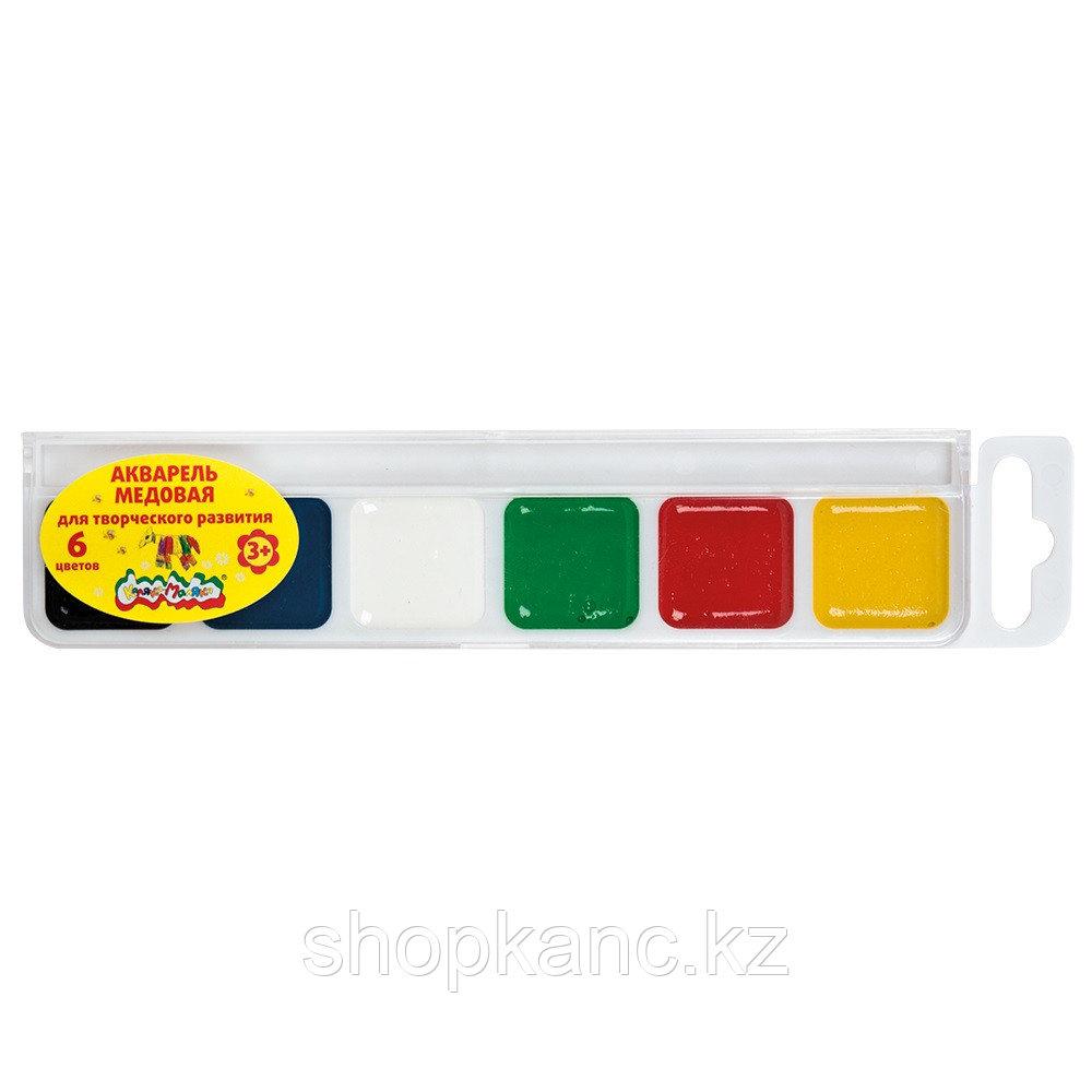 Акварель Каляка-Маляка, 6 цветов, квадратный кювет, пластиковая упаковка