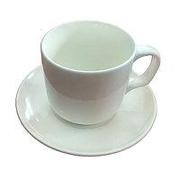Чашка с блюдцем, фарфор белая 280 мл.