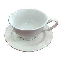 Чашка с блюдцем, фарфор белая, 280 мл.