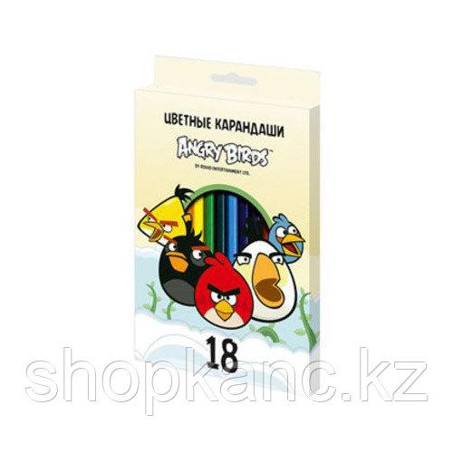 Карандаши цветные Hatber 18 цв. ANGRY BIRDS-2 карт.упаковка/европодвес, заточ.