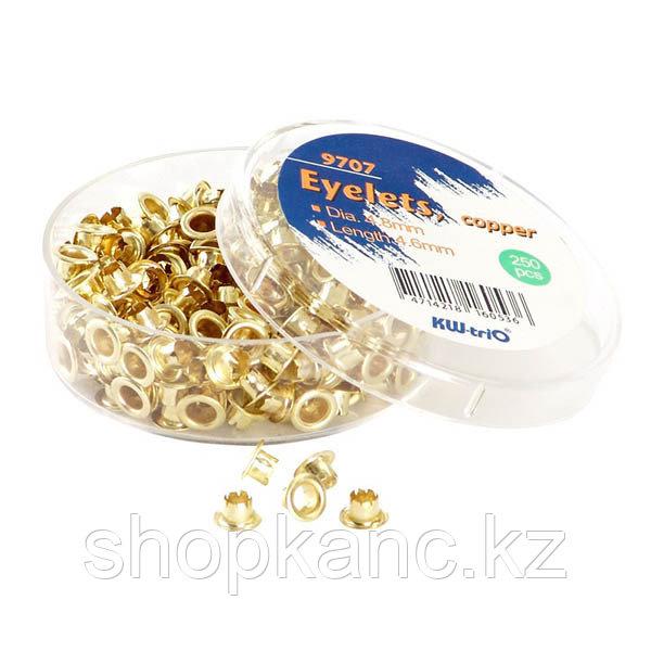 Люверсы для степлера, 250 шт, металлические, золотистые.