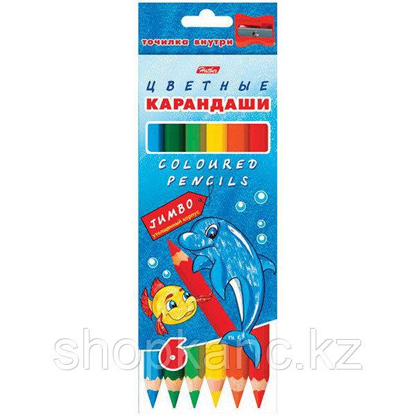 Карандаши Jumbo, 6 цветов Hatber МОРСКАЯ СЕМЕЙКА,упаковка/европодвес заточ.+точилка
