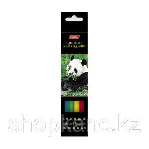 Карандаши цветные Hatber 6 цв. ДИКИЙ МИР карт.упаковка/европодвес заточ.