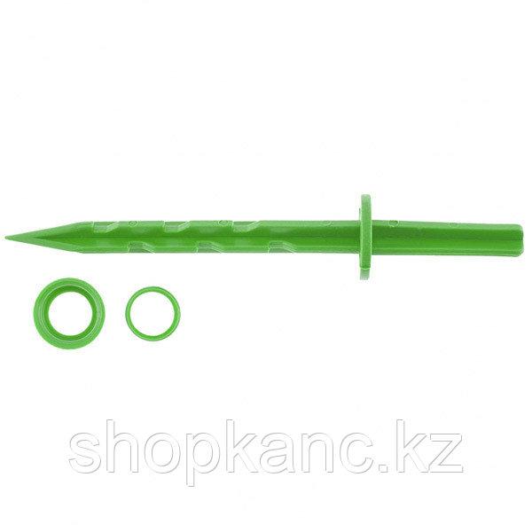 Колышек 20см с установ. кольцом для креп. укрыв. мат. и пленки 10шт/уп, зеленый