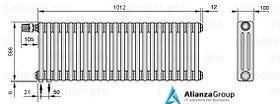 Стальной трубчатый радиатор 3-колончатый Zehnder Completto 3057/20