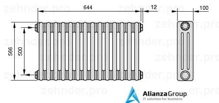 Стальной трубчатый радиатор 2-колончатый Zehnder 2056/16