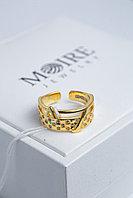 Серебряное кольцо 925 пробы LV позолоченное