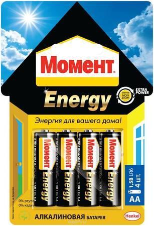 АЛКАЛИНОВЫЕ БАТАРЕЙКИ МОМЕНТ ENERGY 4 x AA