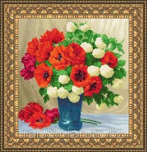 """Набор для вышивания крестом """"Маки и гортензии.Любимые цветы"""" ЛЦ-066"""