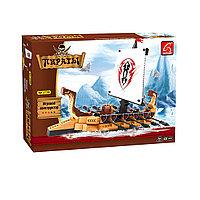 Игровой конструктор Ausini 27705 Пираты Драккар викингов 431 деталь Цветная коробка