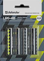 Элемент питания LR6 AA Defender Alkaline LR6-4B - 4штуки в блистере