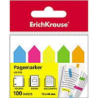 Закладки пластиковые с клеевым краем ErichKrause® 31178 Neon Arrows 12х44 мм 100 листов в пленке 12 шт. 5 цветов