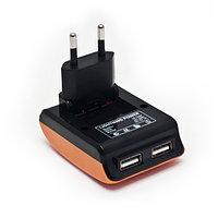 Универсальное USB зарядное устройство Lightning Power LP-T057B Домашнее Поддержка iPad3 2 USB-порта Вход 220В Выход 2*(5В 1A) Оранжево-Чёрный