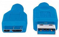 Кабель Manhattan USB 3.0  A(M)/micro B(M)  2 м  синий 325424